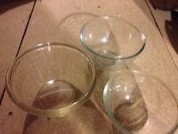 Pyrex bowls three glass