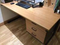 Teak black trim quality desk with 3 drawers - quality, sturdy, excellent condition