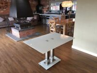 Glass white dining room table