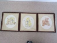 3 mahogany and gold framed Teddy Bear prints by Christine Grove