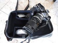 Film camera OLYMPUS OM2n 35mm with Tamron Adaptall 2 28-70mm f/3.5-4.5 CF Macro BBar MC Lens