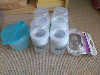Avent bottles and travel formula tub