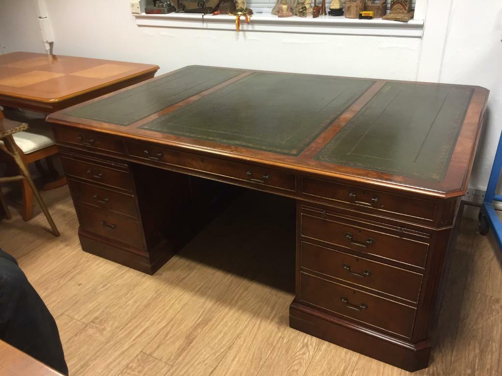 Large Leather Top Partners Desk In Kirkintilloch