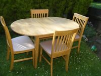 CAN DELIVER - SPACE SAVER SOLID BEECH DINING TABLE AND 4 CHAIRS - PERFECT FOR SMALL KITCHEN