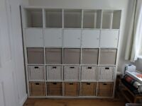 IKEA Kallax 5x5 with inserts and storage cubes