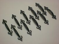 "Boxes of 10 4"" cast iron fleur de lys handles, black or iron finish"