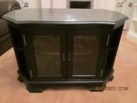CORNER TELEVISION CABINET PAINTED SATIN BLACK