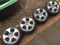 "VW GOLF GTI 18"" GENUINE MONZA ALLOYS AND TYRES"