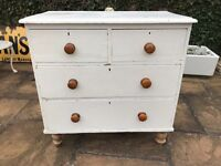 Old Painted Victorian Chest Of Drawers