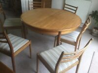 G.Plan teak dining table and 6 chairs. One owner, bought from Lucas's .