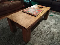 Wooden Oak Coffee Table with built-in Scrabble Board (On A Turn Table)