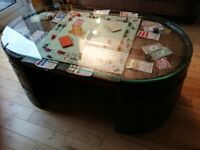 Oak barrel coffee table with Monopoly game