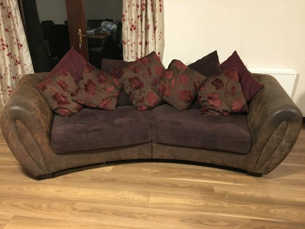 Large curved sofa (brown/maroon)