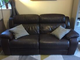 Furniture Village 2.5 Seater Electric Recliner Sofa in Brown Leather