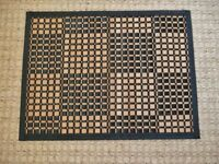 Wood & Black Cotton Multiple Square Patterned Table Mat / Placemat / Place Mat Tableware