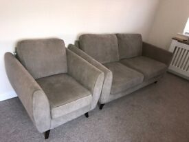3 seater sofa & arm chair sand / taupe