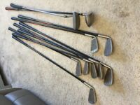 Set of hippo golf clubs ( irons, putter) & ping 5w golf club