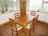 DINING TABLE, 6 CHAIRS AND MATCHING CORNER DISPLAY UNIT