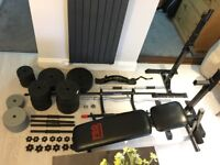 Complete weights gym set: articulating bench, stands, bars, weight plates, chin up bar, brace.