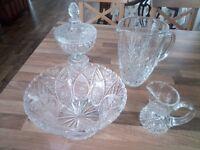 Cut glass jugs and bowls