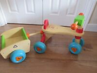 Child's Wooden Trike and Trailer