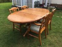 Quality Extending Solid pine dining table and chairs