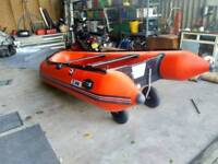 Inflatable boat rid outboard fishing