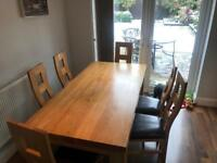 6ft x 3ft Oak table & 6 chairs