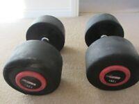 Pair of 40kg rubber Dumbbells
