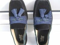 HOTTER WOMENS LOW SUEDE SHOE IN NAVY WITH BLUE/SAGEGREEN TRIM NEW!