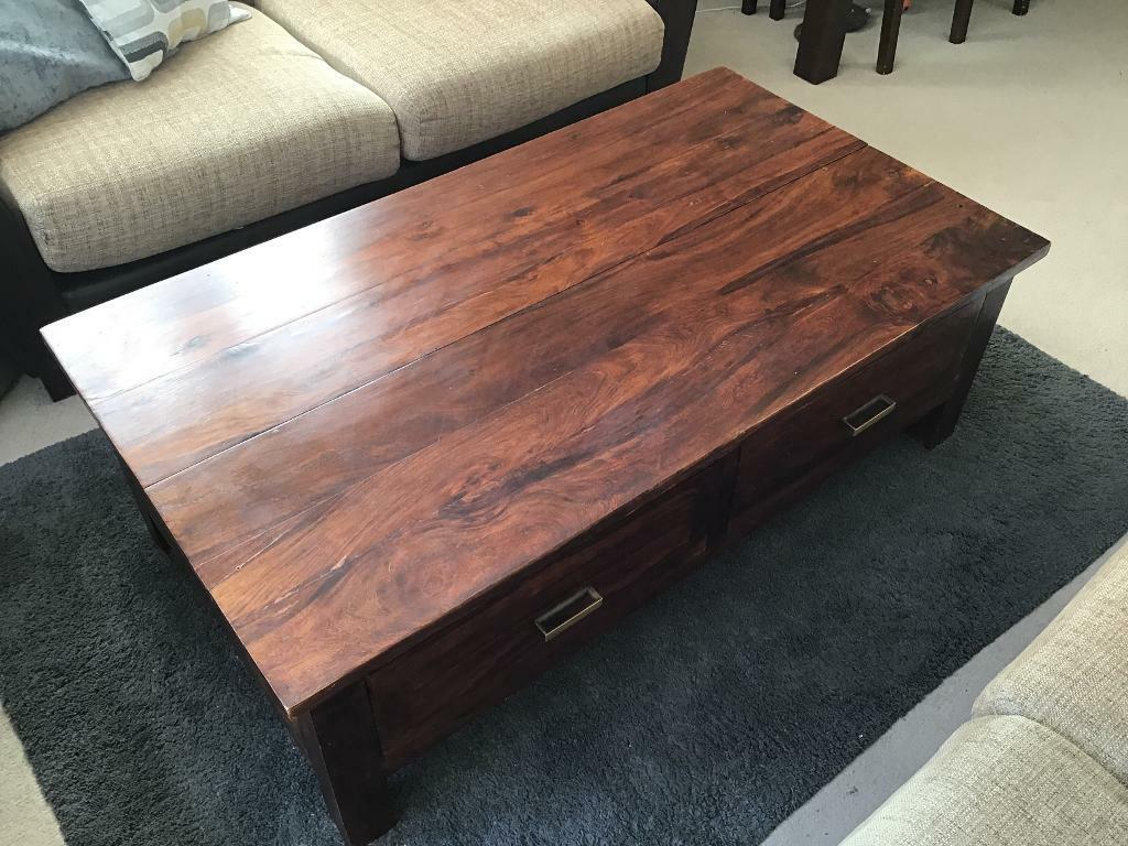 Solid Large Dark Brown Wood Coffee Table With Storage For Dvd Cd Etc Side Unit Tv Unit Tv Stand In Sarisbury Green Hampshire Gumtree