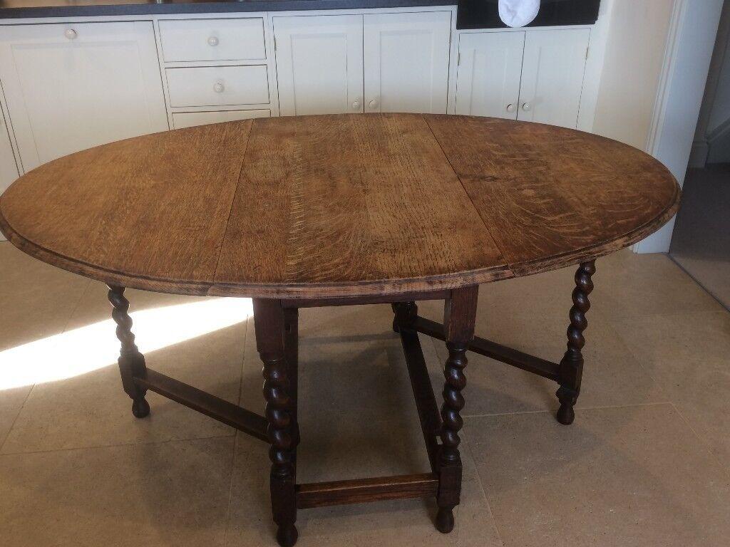 Solid Oak Barley Twist Drop Leaf Dining Table