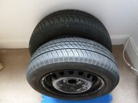 For sale two michelin energy tyres on rims -tyre size 165/65/14