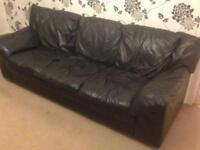 Black leather settee
