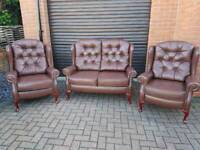 Chesterfield style genuine leather 3 piece suite. EXCELLENT CONDITION BARGAIN!