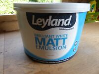 10 LITRES LEYLAND BRILLIANT WHITE MATT EMULSION - NEW/UNUSED