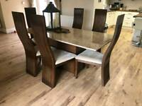 Scs marble dining table, chairs and sideboard
