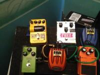 Guitar effects pedals and pedal board
