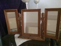 Solid wooden triple vanity mirror