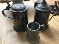 3 antique pewters