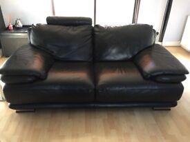 Italian black leather sofas
