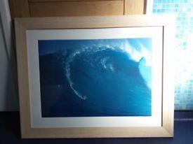 Large Framed Surf Print - Surfing at Jaws, Maui