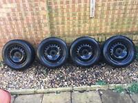 4 Steel Wheels 5x108 With Continental Tyres . Ford, Volvo, Mazda, Peugeot