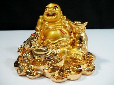 Chinese Oriental Gold Golden Happy Lucky Buddha Money Coin Frog Toad Wealth NEW