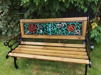 vintage cast iron bench, custom painted garden furniture, newly made to sell