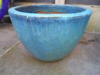 Big turquoise plant pot