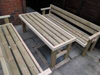 Garden furniture set 2x bench and table sits 6