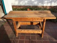 Large, solid, wooden workbench