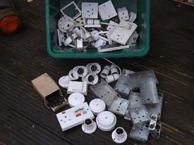 Mixed box of Electrical fixings, new and used