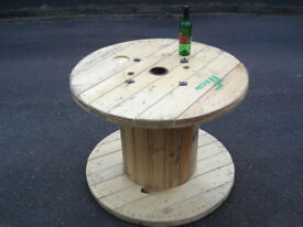 Wooden Reclaimed Industrial Cable Reel/Drum,Table, 100 cm x 75 cm